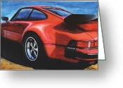 Whale Greeting Cards - Red Porsche 930 Turbo Greeting Card by Rod Seel