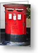 Mail Box Photo Greeting Cards - Red Post Box Greeting Card by Dawn OConnor
