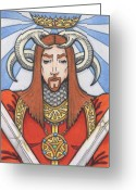 Chivalry Greeting Cards - Red Prince Greeting Card by Amy S Turner