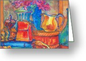 Pitcher Painting Greeting Cards - Red Purse and Blue Line Greeting Card by Blenda Tyvoll