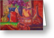 Warm Painting Greeting Cards - Red Purse on Green Book Greeting Card by Blenda Tyvoll