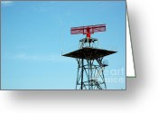 Broadcast Antenna Greeting Cards - Red Radar Greeting Card by Antoni Halim