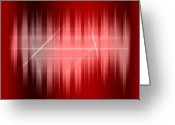 Red Abstract Greeting Cards - Red Rays Greeting Card by Michael Tompsett