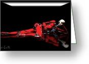 Futuristic Greeting Cards - Red Reflection Greeting Card by Bob Orsillo