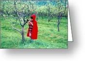 Vermillon Greeting Cards - Red Riding Hood Greeting Card by Ion vincent DAnu