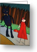 Forest Greeting Cards - Red Ridinghood Greeting Card by James W Johnson