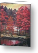 Lanscape Pastels Greeting Cards - Red river Greeting Card by Meliha Bisic