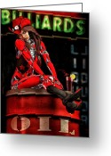 Kick Digital Art Greeting Cards - Red Robot On A Saturday Night  Greeting Card by Bob Orsillo