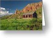 Antiquated Greeting Cards - Red Rock Cabin Greeting Card by Leland Howard
