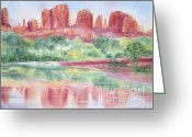 Deb Ronglien Watercolor Greeting Cards - Red Rock Canyon Greeting Card by Deborah Ronglien