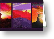 Natural Formations Mixed Media Greeting Cards - Red Rock Country Triptych Greeting Card by Steve Ohlsen