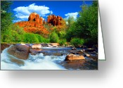 Western Photo Greeting Cards - Red Rock Crossing Greeting Card by Frank Houck