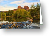 Red Rocks Greeting Cards - Red Rock Crossing Three Greeting Card by Paul Basile