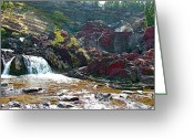 Swiftcurrent Falls Greeting Cards - Red Rock Falls in Glacier NP Greeting Card by Ruth Hager