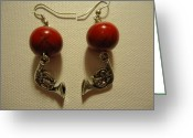 Earrings Jewelry Greeting Cards - Red Rocker French Horn Earrings Greeting Card by Jenna Green