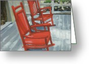 Rocking Chairs Greeting Cards - Red Rockers Two Greeting Card by Robert Rohrich