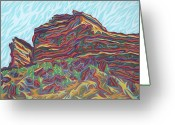 States Pastels Greeting Cards - Red Rocks Greeting Card by Robert  SORENSEN