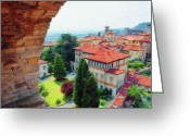 Cityscape Digital Art Greeting Cards - Red Roofs Greeting Card by Jeff Kolker