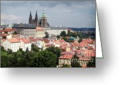 Sky Mixed Media Greeting Cards - Red Rooftops of Prague Greeting Card by Linda Woods