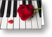 Pianos Greeting Cards - Red rose and candy heart Greeting Card by Garry Gay