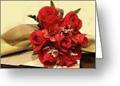 Roses Petals Greeting Cards - Red Rose Bouquet Greeting Card by Linda Phelps