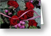 Pink Ribbon Greeting Cards - Red Rose Bouquet Greeting Card by Mary Machare