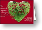 Robyn Stacey Photo Greeting Cards - Red Rose Heart God Made Mothers Greeting Card by Robyn Stacey