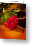 Stretched Canvas Greeting Cards - Red Rose Natural Acoustic Guitar Greeting Card by M K  Miller