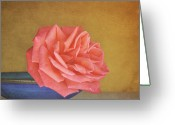 Rose Petals Greeting Cards - Red Rose Greeting Card by Photo - Lyn Randle