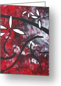 Red Leaves Painting Greeting Cards - Red Roses 2 by MADART Greeting Card by Megan Duncanson