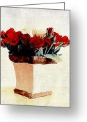 Blossom Digital Art Greeting Cards - Red Roses Greeting Card by Kristin Kreet