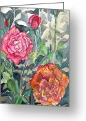 Old-fashion Digital Art Greeting Cards - Red Roses Greeting Card by Mindy Newman