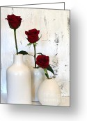 Wrap...floral Greeting Cards - Red Roses on White Greeting Card by Marsha Heiken