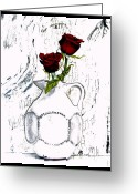 Pitcher Greeting Cards - Red Roses With Green Leaves Greeting Card by Marsha Heiken