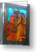 Equine Glass Art Greeting Cards - Red Rum Greeting Card by Robin Jeffcoate
