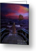 Lianne_schneider Fine Art Print Greeting Cards - Red Sails in the Sunset Greeting Card by Lianne Schneider