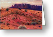 Western Pastels Greeting Cards - Red Sand Greeting Card by Donald Maier