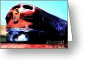 Santa Fe Digital Art Greeting Cards - Red Santa Fe Super Chief Greeting Card by Wingsdomain Art and Photography