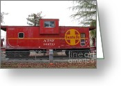 Old Caboose Greeting Cards - Red Sante Fe Caboose Train . 7D10328 Greeting Card by Wingsdomain Art and Photography