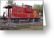 Old Caboose Greeting Cards - Red Sante Fe Caboose Train . 7D10329 Greeting Card by Wingsdomain Art and Photography
