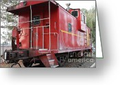 Old Caboose Greeting Cards - Red Sante Fe Caboose Train . 7D10330 Greeting Card by Wingsdomain Art and Photography