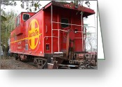 Old Caboose Greeting Cards - Red Sante Fe Caboose Train . 7D10332 Greeting Card by Wingsdomain Art and Photography