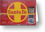 Old Caboose Greeting Cards - Red Sante Fe Caboose Train . 7D10333 Greeting Card by Wingsdomain Art and Photography