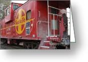Old Caboose Greeting Cards - Red Sante Fe Caboose Train . 7D10334 Greeting Card by Wingsdomain Art and Photography