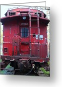 Locomotives Greeting Cards - Red Sante Fe Caboose Train . 7D10476 Greeting Card by Wingsdomain Art and Photography