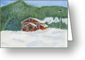 Schoolhouse Painting Greeting Cards - Red School House Greeting Card by Louise Magno