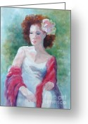 Lost In Thought Painting Greeting Cards - Red Shawl Greeting Card by Marilyn Jacobson