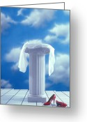 Red Shoes Greeting Cards - Red shoes and pedestal Greeting Card by Garry Gay