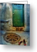 Drain Greeting Cards - Red Shoes By Green Door Greeting Card by Jill Battaglia