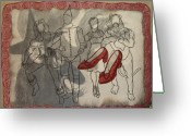 Fiber Art Greeting Cards - Red Shoes Greeting Card by Diane  DiMaria
